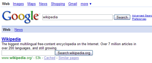 google moteur wikipedia