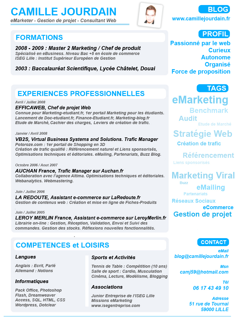 faire un cv sous photoshop cs5