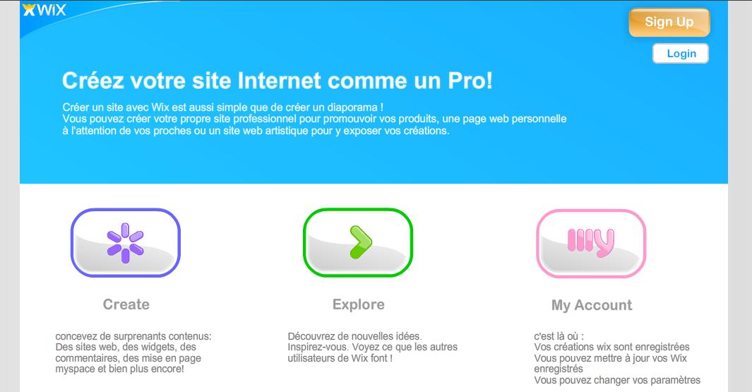 Wix, site web 2.0