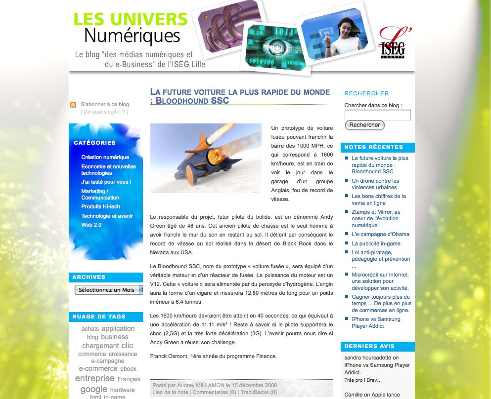 ISEG Lille Blog Univers Numériques